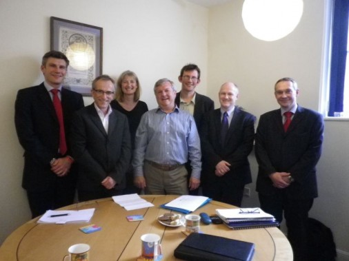 REPRESENTATIVES OF DAIRY CREST AND ATMOS TOTNES MEETING TO DISCUSS THE FUTURE OF THE DAIRY CREST SITE (L-R) DUNCAN GOOD, ARTHUR REEVES, DR. SARAH WOLLASTON MP, IAN FRANKLIN, ROB HOPKINS, DAVE CHAPMAN AND ROBIN MILLER.