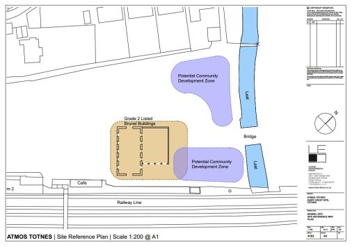 Plan showing (in purple) the sites that, alongside the Brunel Building, TCDS will be designing.