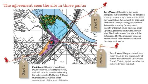 Map showing how the final agreement signed over the future of the site divides it, and how the future of each part will be decided.
